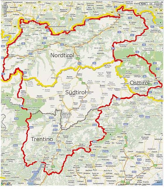 Karte Tirol.Kulturforum Europaregion Tirol Südtirol Trentino Landkarte G